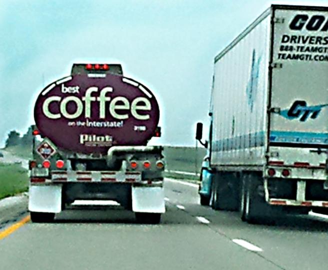 Semi-trucks on I-80 in beautiful Iowa